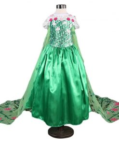 Girls Elsa Dress Costume Princess Anna Dresses Cosplay Halloween Party Kid Fancy Baby Girl Xmas Clothes elza vestidos With Crown 1