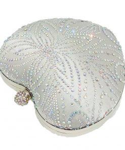 Boutique De FGG Silver Crystal Flower Women Heart Evening Clutch Bags Hardcase Metal Clutches Wedding Party Bridal Handbag Purse 1