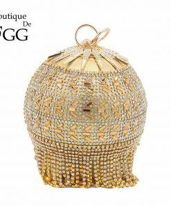 Boutique De FGG Round Circular Gold Diamond Tassel Bridal Handbag Wedding Wristlets Purse Women Evening Party Crystal Clutch Bag