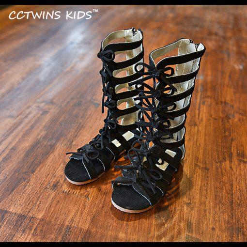 CCTWINS KIDS 2017 Summer Baby Girl Genuine Leather Knee High Gladiator Sandal Kid Fashion Children Beach Lace Up Black Shoe B414 3