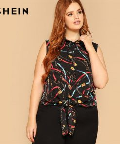 SHEIN Plus Size Chain Print Knot Hem Sleeveless Women Blouse 2019 Summer Weekend Casual Round Neck Tank Tops And Blouses