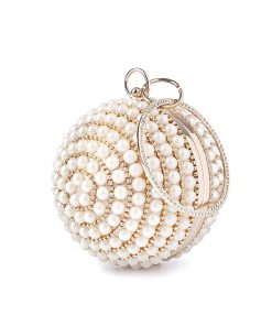 pearls evening bags designer round shape full dress party purse gold black beaded day clutch handbag chains shoulder bag 1