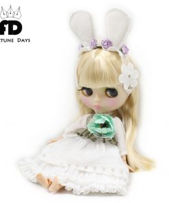 flower dress for 1/6 doll lace & bow & flower, white ear, white headdress, lace white dress
