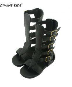 CCTWINS KIDS girls sandal children knee high gladiator sandal baby summer sandal for girl children real leather boot sandal B156 1