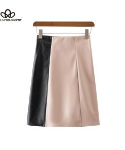 Bella Philosophy Women 2018 new autumn winter two color stitching zipper faux leather long skirt