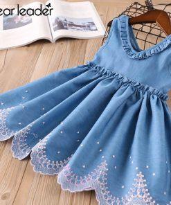 Bear Leader Girls Dresses Kids Princess Dress Ruffle V-neck Denim Dress Kids Clothes Embroidery Toddler Girls Children Suit