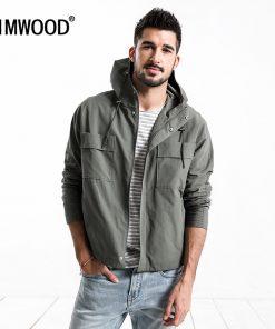 SIMWOOD 2019 Spring New Hooded Jacket  Men Double Pocket Slim Fit Thin  Windbreaker Green Coats Brand Clothing 180170
