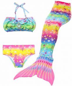 3pcs/Set Princess Swimmable Child Mermaid Tails Children Mermaid Tail for Girl Kids with Bikini Swimsuit Costume Cosplay 1