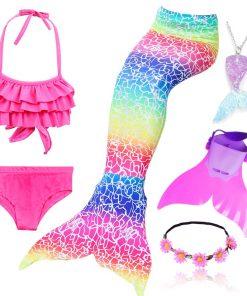 4pcs/Set Rainbow Children Mermaid Tail with Diamonds with Monofin for Girls Kids Costume Swimming Swimmable Mermaid Tail Costume 2