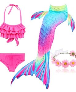 Kids Swimming Mermaid Tail Little Costume Childrens Swimwable Mermaid Tail with Monofin Clothing Girls Swimwear Swimsuit 1