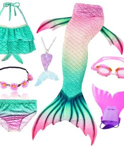 Kids Mermaid Tail Swimsuit Fancy Girls Mermaid Tail can Add with Monofin Flippers  Halloween Costume Cosplay Christmas Gift 1