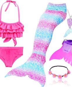 4pcs/Set Rainbow Children Mermaid Tail with Diamonds with Monofin for Girls Kids Costume Swimming Swimmable Mermaid Tail Costume 1
