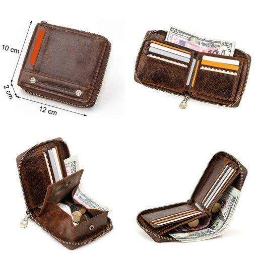 CONTACT'S 100% Genuine Leather Rfid Wallet Men Leather Coin Purse Short Male Card Holder Wallets Zipper Around Money Bag Quality 2