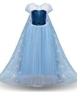 Cosplay Snow Queen Dress Girls Elsa Dress For Girls Princess Vestidos Fantasia Children Belle Dress Girl Party Costume 2