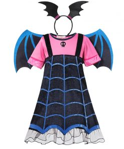 MUABABY Girls Vampire Fancy Dress Up Costumes Clothes Short Sleeve Carnival Halloween Vampire Party Gown Children Frocks 1