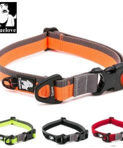 Truelove Dog Collar Nylon for Small medium and Big Dogs Neck Belt Training Walking Light Breathable Running Orange Black TLC5171 1