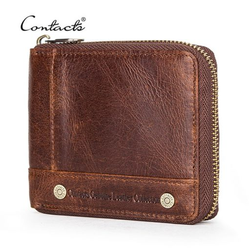 CONTACT'S 100% Genuine Leather Rfid Wallet Men Leather Coin Purse Short Male Card Holder Wallets Zipper Around Money Bag Quality 1
