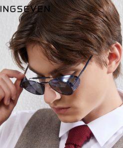 KINGSEVEN Fashion Gothic Steampunk Sunglasses Polarized Men Women Brand Designer Vintage Round Metal Frame Sun Glasses Eyewear 1