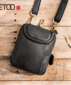 AETOO Casual Men's Messenger Bag Men's Mini Shoulder Small Bag Leather Retro Phone Bag Leather Multifunction Waist Bag 1