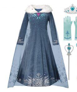 3-10 Years Cosplay Princess Dress Anna Elsa 2 Carnival Costume Girls Children Party Clothing Kids Fancy Elza 2 dress 1