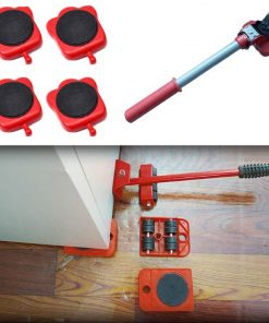 5Pcs Professional Furniture Mover Tool Set Heavy Stuffs Transport Lifter Wheeled Mover Roller with Wheel Bar Moving Hand Device 3