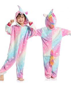 Kigurumi Unicorn Pajamas Children's Pajamas for Boys Girls Flannel Kids Stich Pijamas Set Animal Sleepwear Winter Onesies 4-12 2