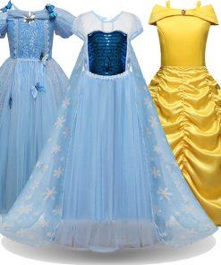 Cosplay Snow Queen Dress Girls Elsa Dress For Girls Princess Vestidos Fantasia Children Belle Dress Girl Party Costume 1