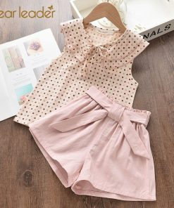 Bear Leader Girls Clothing Sets 2021 New Summer Casual Style Flower Design Short Sleeve T-shirt+Double Pocket Pants 2Pcs For 2-6 1