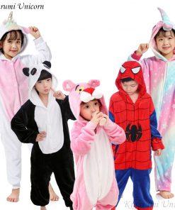 Kigurumi Unicorn Pajamas Children's Pajamas for Boys Girls Flannel Kids Stich Pijamas Set Animal Sleepwear Winter Onesies 4-12 1