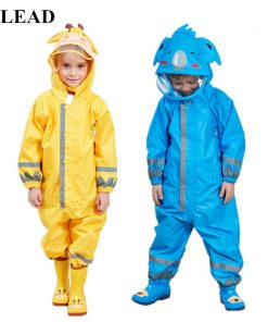 VILEAD Cute Animal Baby Jumpsuits Rain Coat Waterproof Polyester Raincoat Children Windproof Poncho for Kindergarten Student 1