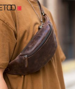AETOO Original handmade retro first layer crazy horse cowhide zipper leather multifunctional fashion mobile phone waist bag ches 1