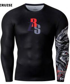 Male t-shirt 3D Printed Compression Shirt Quick-Dry T-Shirt Rash Guard Tops Fitness Running Shirt Men Gym Sport Tight 1