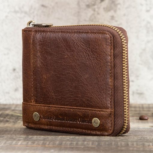 CONTACT'S 100% Genuine Leather Rfid Wallet Men Leather Coin Purse Short Male Card Holder Wallets Zipper Around Money Bag Quality 5