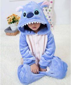 Kigurumi Unicorn Pajamas set Kids Winter Stitch Onesies Cosplay Children Pyjamas Boys Girls Flannel Pijamas Set Animal Sleepwear 2