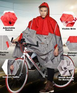 QIAN Impermeable Raincoat Women/Men Outdoor Rain Poncho Backpack Reflective Design Cycling Climbing Hiking Travel Rain Cover 1