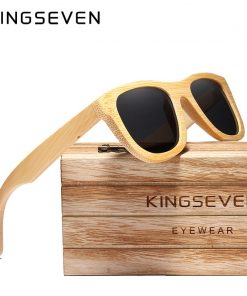 KINGSEVEN 2019 Retro Bamboo Sunglasses Men Women Polarized Mirror UV400 Sun Glasses Full Frame Wood Shades Goggles Handmade 1