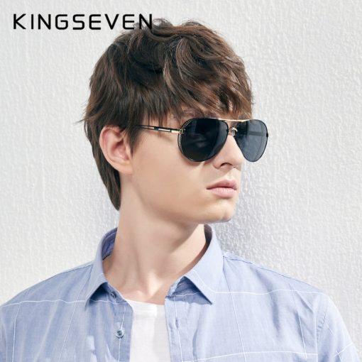 KINGSEVEN Men's Aluminum Sunglasses Photochromic With Polarized Lens Steampunk Style Fishing Driving Sun glasses Men Goggles 5