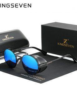 KINGSEVEN Fashion Gothic Steampunk Sunglasses Polarized Men Women Brand Designer Vintage Round Metal Frame Sun Glasses Eyewear 2