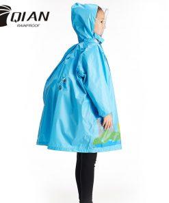 QIAN RAINPROOF Impermeable Eco-friendly Children Raincoat Healthy Kids Rainwear Light Weight Rain Gear Poncho Sleeves Rain Coat 1