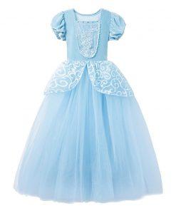 Little Girls Blue Cinderella Dress Up Children Puff Sleeve Elegant Prom Party Dress Kids Girl Birthday Princess Costume 2