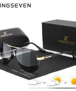 KINGSEVEN Men's Aluminum Sunglasses Photochromic With Polarized Lens Steampunk Style Fishing Driving Sun glasses Men Goggles 1
