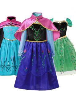 Girls Dress elsa costume anna elsa Dress princess for Kids dress for girls anna dress with cape Dress Costumes Cosplay 1