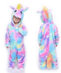 Kigurumi Unicorn Children Rabbit Pajamas Boy Girl Cartoon Animal Cosplay Pyjama Onesie Kids Sleepwear Hoodie Costume Jumspuit 2