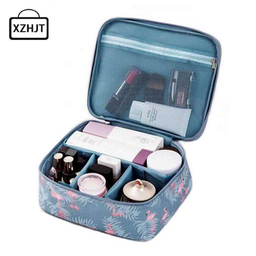 Women Cartoon Flamingo Cosmetic Bag Function Makeup Bag Travel Trunk Zipper Make Up Organizer Storage Pouch Toiletry Kit Box 1