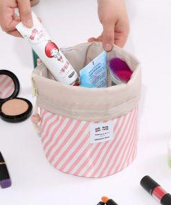 RUPUTIN Dropshipping Drawstring Cosmetic Bag High Capacity Makeup Organizer Storage Bags Travel Toiletry Kit Drum Make Up Bags 2