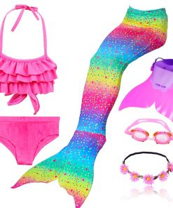 Hot Swimmable Mermaid Tail for Girls Swimming Bating Suit Mermaid Costume with monofin flipper or with Mermaid wig 1