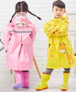 QIAN 3-10 Years Old Kids Raincoat Waterproof Boys Girls Hooded Rain Coat Cartoon Sleeves School Tour Colorful Rain Poncho Suit 2