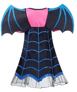 MUABABY Girls Vampire Fancy Dress Up Costumes Clothes Short Sleeve Carnival Halloween Vampire Party Gown Children Frocks 2