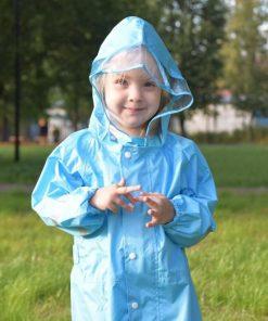 QIAN 2-9 Years Old Fashionable Waterproof Jumpsuit Raincoat Hooded Cartoon Kids One-Piece Rain Coat Tour Children Rain Gear Suit 2
