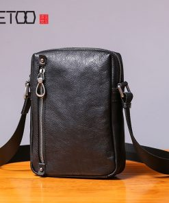 AETOO Single shoulder bag male leather casual vertical small bag handmade retro head cowhide men's small satchel 1
